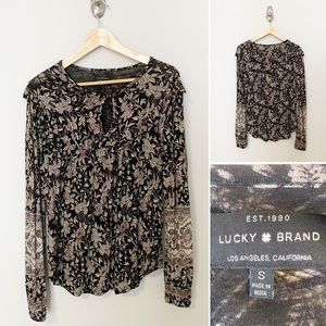 Lucky Brand Floral Crew Long Sleeve Blouse - SZ sm